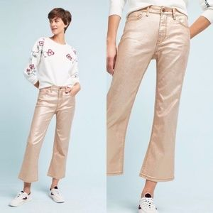 Anthro Pilcro Coated High-Rise Cropped Flare Jeans